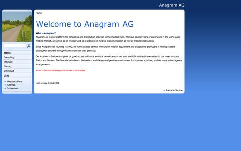 Screenshot of Home Page anagram.ch - Welcome to Anagram AG - captured Feb. 6, 2016