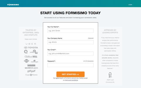 Screenshot of Signup Page formisimo.com - Start using Formisimo | Form Analytics - captured Dec. 2, 2016
