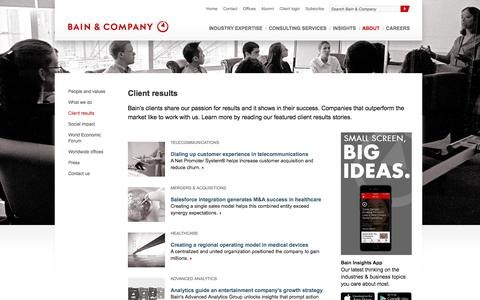 Screenshot of Developers Page bain.com - Client results / Consulting results / Case examples - Bain & Company - captured Nov. 14, 2016
