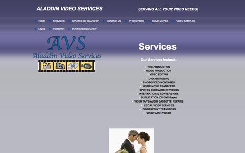 Screenshot of Services Page aladdinvideoservices.com - AVS - Services - captured Sept. 30, 2014