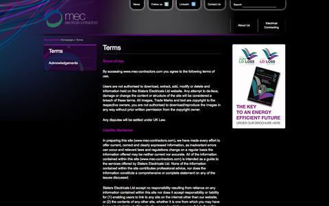 Screenshot of Terms Page mec-contractors.com - Slaters Electricals | MEC Electrical Contractors - captured Oct. 3, 2014