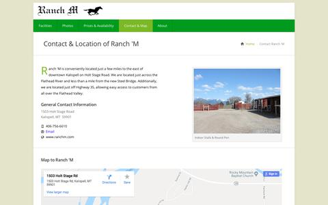 Screenshot of Contact Page Maps & Directions Page ranchm.com - Contact & Location Information for Ranch 'M in Kalispell, Montana - captured July 3, 2018