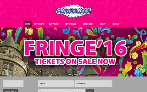 Screenshot of Home Page gildedballoon.co.uk - Gilded Balloon   Home of Late'n'Live and So You Think You're Funny? - captured July 13, 2016