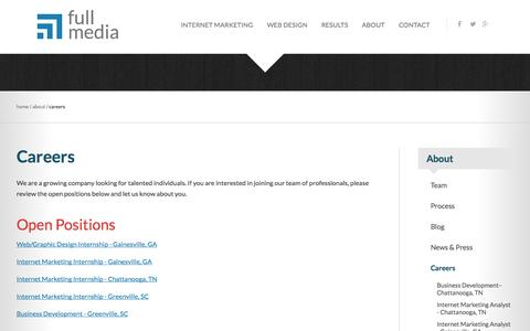 Screenshot of Jobs Page fullmedia.com - Join Our Team | Full Media - captured Sept. 19, 2014
