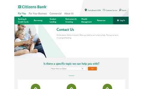 Screenshot of Contact Page citizensbank.com - Contact Us | Citizens Bank - captured Feb. 27, 2017