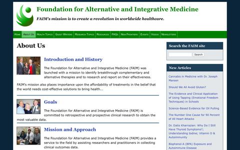 Screenshot of About Page nfam.org - About Us | Foundation for Alternative and Integrative Medicine - captured Oct. 31, 2018