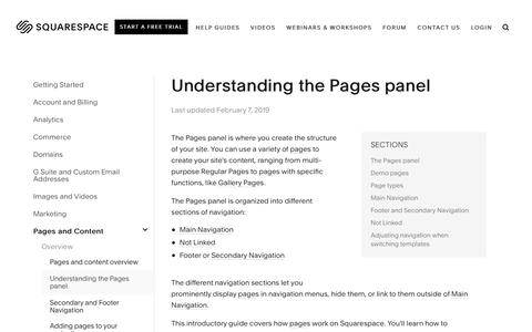Screenshot of Support Page squarespace.com - Understanding the Pages panel – Squarespace Help - captured Feb. 11, 2019