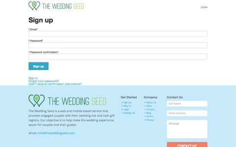 Screenshot of Signup Page theweddingseed.com - Wedding Seed - captured Oct. 9, 2014