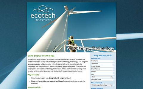 Screenshot of Landing Page ecotechinstitute.com - Wind Energy Technology Program – Ecotech Institute – Make the World Your Workplace - captured Oct. 27, 2014