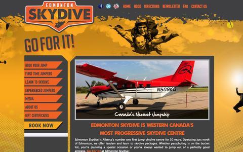 Screenshot of Home Page edmontonskydive.com - Edmonton Skydive | Go for it - captured June 17, 2015