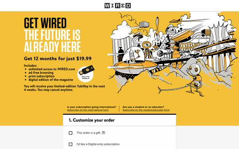 Screenshot of Landing Page wired.com - WIRED Magazine Subscription - captured March 29, 2018