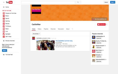 Screenshot of YouTube Page youtube.com - CarDelMar  - YouTube - captured Nov. 23, 2015