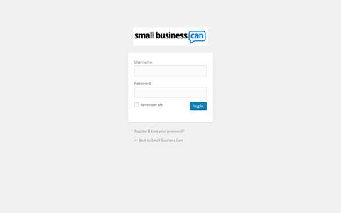 Screenshot of Login Page smallbusinesscan.com - Small Business Can › Log In - captured Feb. 5, 2016