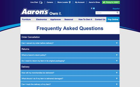 Screenshot of FAQ Page aarons.com - Aaron's FAQs - captured Feb. 7, 2018