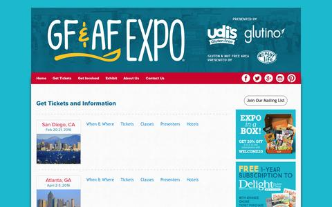 Screenshot of Locations Page gfafexpo.com - Get Tickets and Information | GFAF Expo - captured Nov. 13, 2015