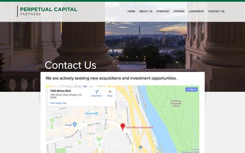 Screenshot of Contact Page perpetualcapitalpartners.com - Contact Us – Perpetual Capital Partners - captured July 17, 2018