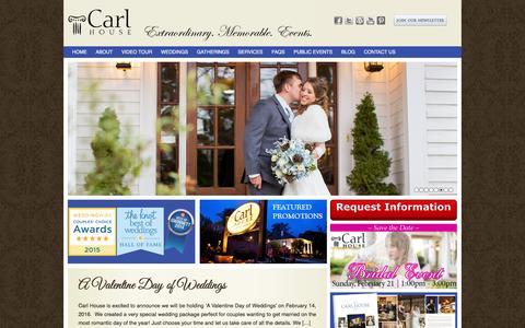 Screenshot of Home Page carlhouse.com - Atlanta Wedding Venue   Outdoor Wedding Ideas  Carl House - captured Jan. 25, 2016