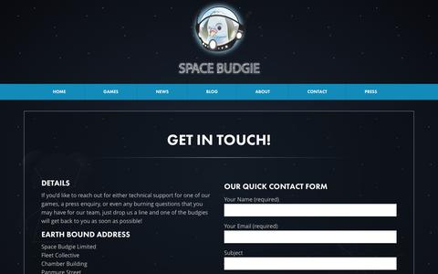 Screenshot of Contact Page spacebudgie.com - Contact | Space Budgie - captured Feb. 27, 2016
