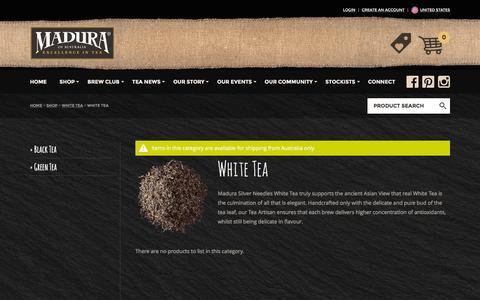 Screenshot of Products Page maduratea.com.au - White Tea : Madura Tea, Excellence in Tea - captured March 5, 2016