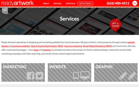 Screenshot of Services Page readyartwork.com - Magento Services Alhambra | Ready Artwork Design Social Media - captured Oct. 20, 2015