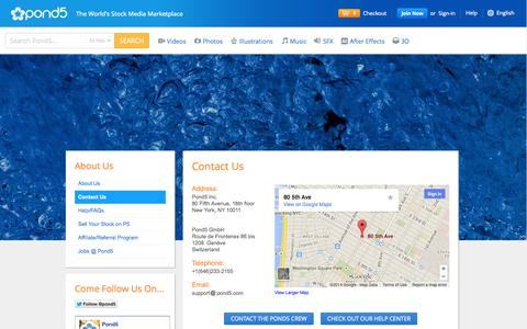 Screenshot of Contact Page pond5.com - Contact Us - captured Sept. 17, 2014
