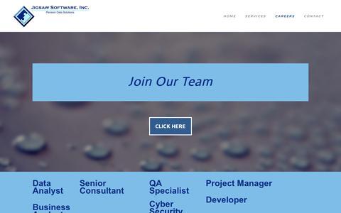 Screenshot of Jobs Page jigsawsoftwareinc.com - Careers - JIGSAW SOFTWARE, INC. - captured Sept. 20, 2018