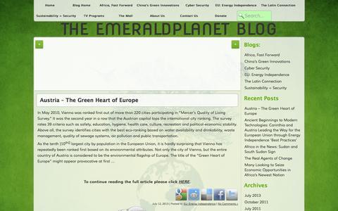 Screenshot of Blog emerald-planet.org - The EmeraldPlanet Blog - captured Oct. 2, 2014