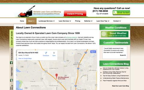 Screenshot of About Page lawnconnections.com - About Lawn Care Haslet TX-Landscaping Services-Patios-Stonework - captured Oct. 2, 2014