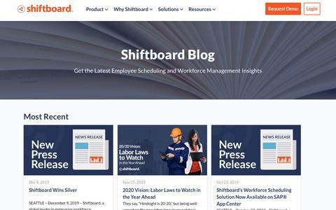 Screenshot of Blog shiftboard.com - Shiftboard Blog   Employee Scheduling and Shift-Based Workforce Content - captured Jan. 12, 2020