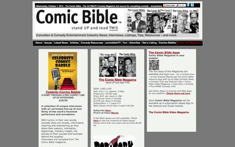 Screenshot of Products Page thecomicbible.com - Comic Bible Magazine Ultimate Comedy Source - captured Oct. 1, 2014