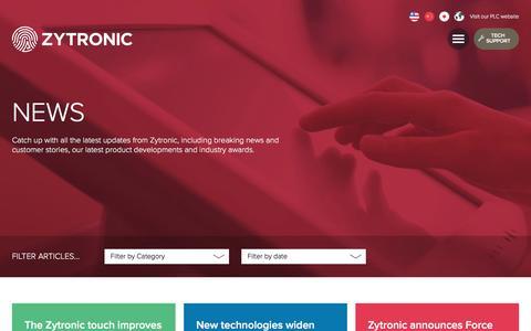 Screenshot of Press Page zytronic.co.uk - News - Zytronic UK - captured Aug. 12, 2016