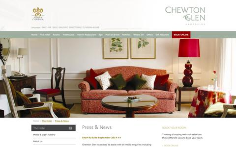 Screenshot of Press Page chewtonglen.com - Luxury Hotel in England UK | Award-winning Country House Hotel in Hampshire - captured Sept. 19, 2014