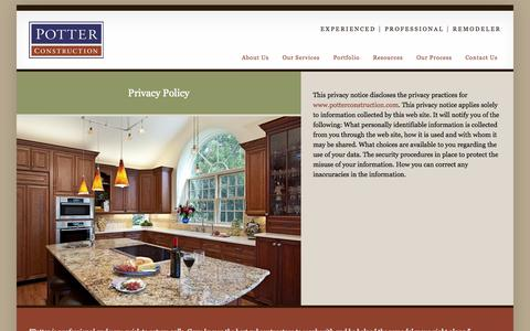 Screenshot of Privacy Page potterconstruction.com - Privacy Policy | Potter Construction - captured Oct. 2, 2014