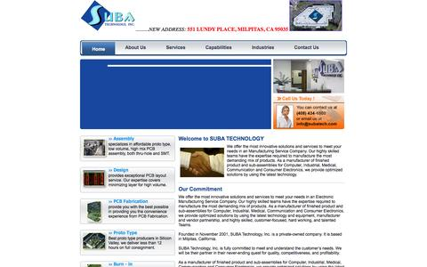 Screenshot of Home Page subatech.com - Welcome To Suba Technology - captured Oct. 8, 2014