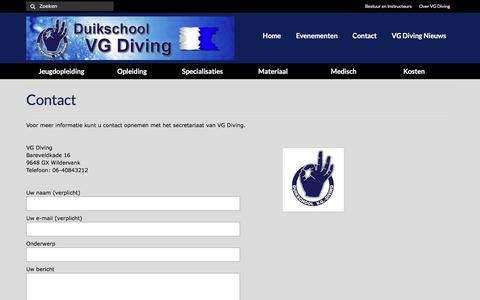 Screenshot of Contact Page vgdiving.nl - Contact - VG Diving - captured May 28, 2016