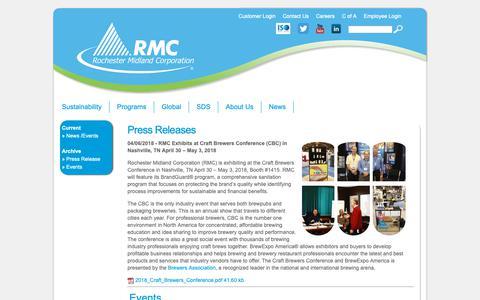 Screenshot of Press Page rochestermidland.com - News / Events - captured Oct. 18, 2018
