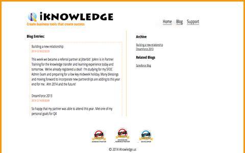 Screenshot of Blog iknowledge.us - iKnowledge.us | SalesForce Solutions - captured Sept. 30, 2014