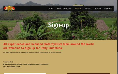 Screenshot of Signup Page rallyindochina.com - Sign-up - Rally Indochina - captured Oct. 20, 2018