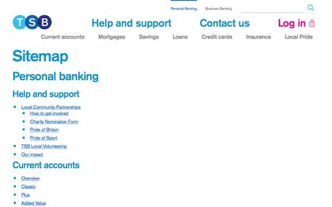 Screenshot of Site Map Page tsb.co.uk - Sitemap | TSB Bank - captured June 20, 2017
