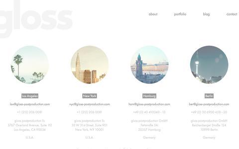 Screenshot of Contact Page gloss-postproduction.com - contact | gloss-postproduction.com - captured Feb. 2, 2016