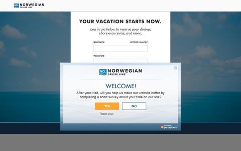 Screenshot of Login Page ncl.com - Cruises & Cruise Deals | Caribbean Cruise Vacations | Norwegian Cruise Line - captured Jan. 18, 2020