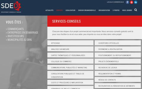 Screenshot of Services Page commerce-drummond.com - Services | Commerce Drummond - captured July 20, 2018