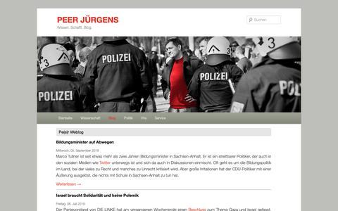 Screenshot of Blog peer-juergens.de - Blog | PEER JÜRGENS - captured Oct. 22, 2018