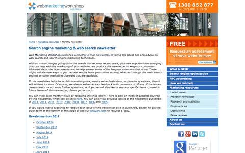 Screenshot of Signup Page webmarketingworkshop.com.au - Search engine marketing newsletter, web search news, tips & advice: Web Search Workshop, Sydney, Australia - captured Oct. 26, 2014