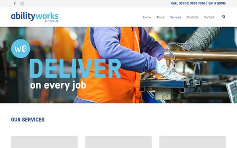 Screenshot of Services Page abilityworks.com.au - Ability Works | Our services – packing and assembly and more - captured Oct. 7, 2017