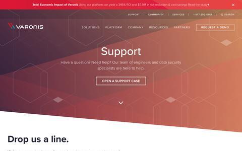 Screenshot of Support Page varonis.com - Customer Support | Varonis - captured July 5, 2018