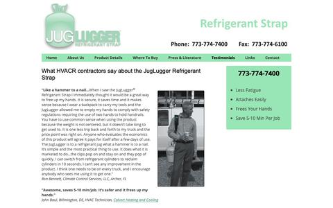 Screenshot of Testimonials Page juglugger.com - Testimonials to JugLugger Refrigerant Strap - captured Oct. 1, 2018