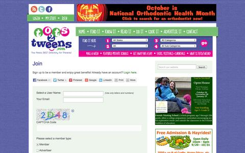 Screenshot of Signup Page tots2tweens.com - Join - Tots2Tweens.com - captured Oct. 7, 2014