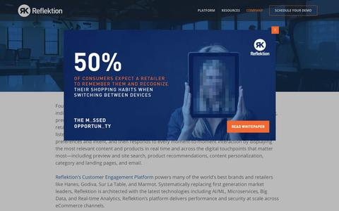 Screenshot of About Page reflektion.com - Learn About Reflektion   Real-time Intelligent Personalization - captured April 22, 2019