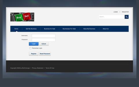 Screenshot of Login Page bizxchange.co.za - User Log In - captured Aug. 31, 2016
